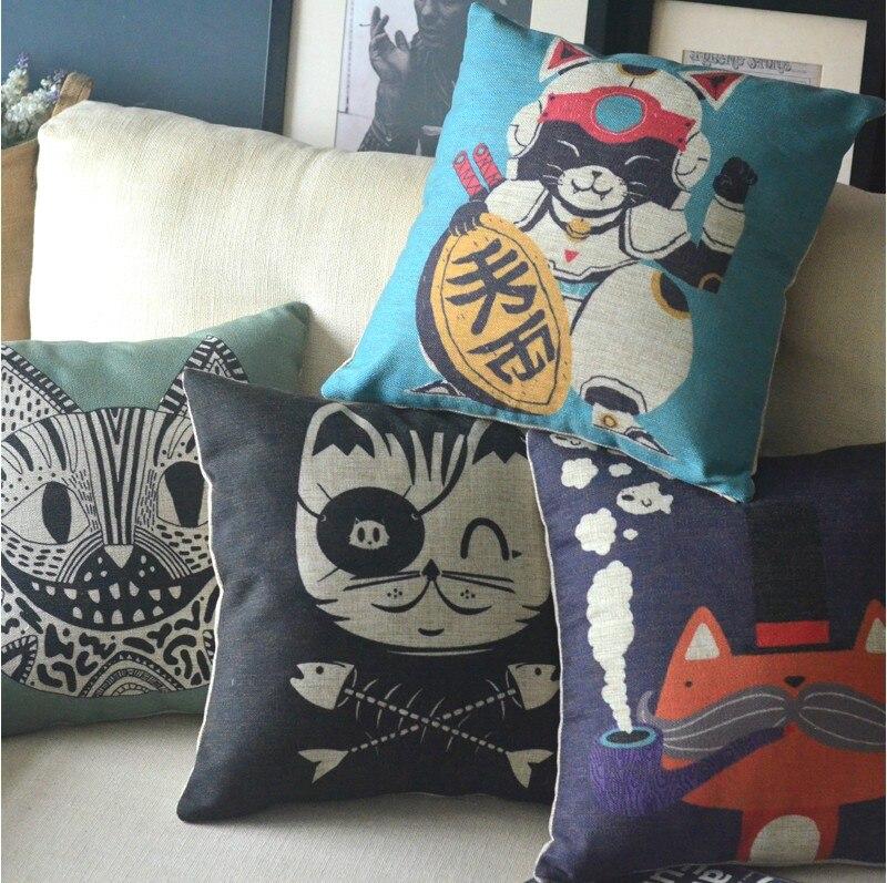 Chat chaton animaux cadeaux dessin animé Art coton housse de coussin animaux taie d'oreiller pour voiture bureau décor à la maison canapé coussins 1 pièces