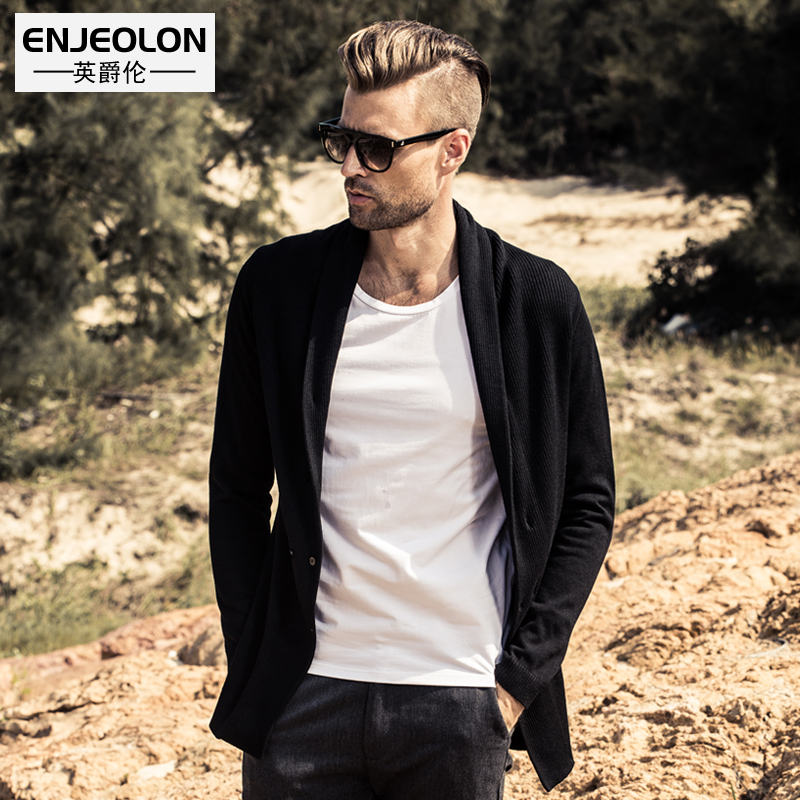 Enjeolon brand 2017 cotton knitted cardigan Sweaters man,turn down collar Black Clothing plus size 3XL casual Sweater M2041