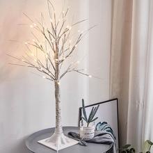 24 светодиодный Ландшафтный вечерние домашняя теплая белая лампа pvc ночник праздничные Свадебные 45 см филиалов искусственный с принтом в виде березовых деревьев, декоративный светильник