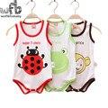 Varejo 0-3years 3 patterns mangas Bebés meninos meninas bodysuits dos desenhos animados colete underwaist crianças macacões Infantil Roupas de verão