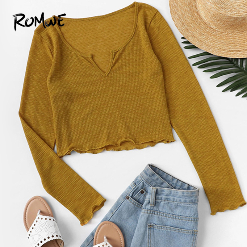 ROMWE Ginger Lettuce Trim V Cut Neck Tee Tops Long Sleeve Crop Womens Clothing Spring Plain   T     Shirt   Fashion Slim   Shirts