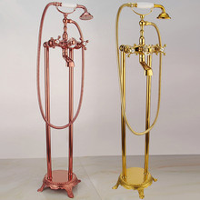 Bathtub Faucet Brass Bathtub Mixer Tap With Hand Shower Floor Standing Style Dual Handle Golden Bathroom Bath Shower Faucet Set bathroom luxury golden brass deck mounted shower faucets set bathtub faucet water mixer tap with hand shower ztf086