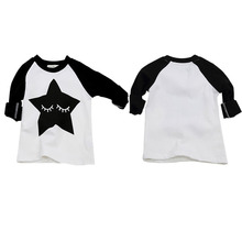 Fashion Boys White T-shirts Soft Cotton Long Sleeve T Shirt Star Pattern Children O-Neck Tee Tops For Spring/Autumn Boy Clothes