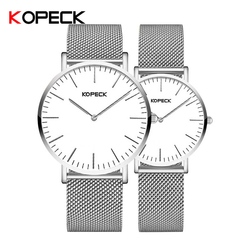 Kopeck Couple Watch For Lovers Man And Ladies Quartz Watches Milan Mesh Strap Sapphire Crystal Luxury Bracelet Wedding Gift Box