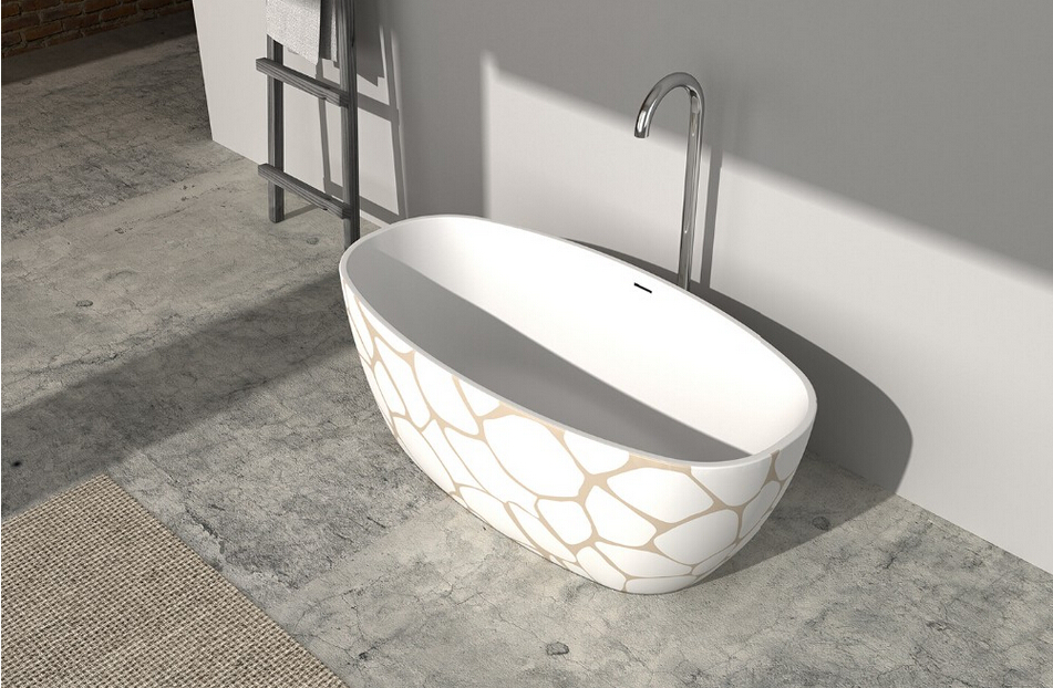1830x800x550mm Corian CUPC Approval Bathtub With Hand Paint Pattern Oval Freestanding Solid surface stone Tub RS65126