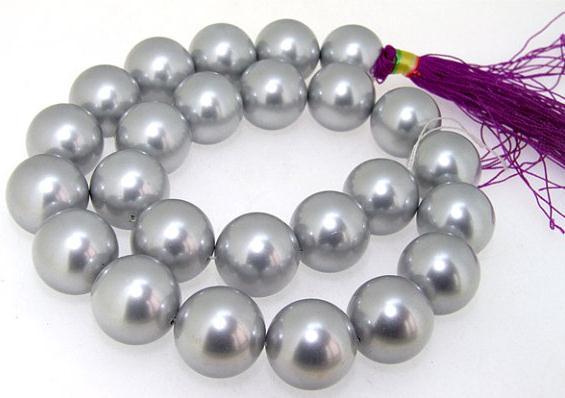 Perle de coquillage ronde de couleur grise perles en vrac 14 pouces une chaîne complète AA 16 MM bijoux à bricoler soi-même pour collier LS3-084
