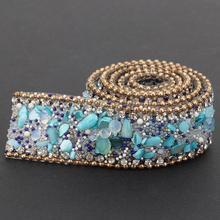 Отделка Ногтей 2,5 см DIY Алмазная сетка обертывание рулон хрустальные стразы цепь отделка лента украшение
