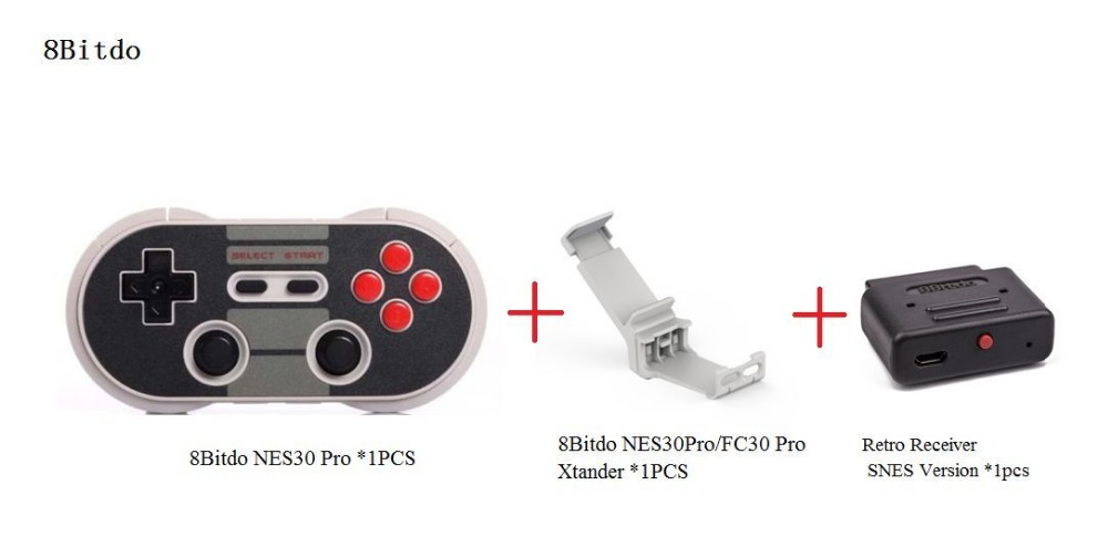 ФОТО Free Shipping 8Bitdo NES30Pro Wireless Bluetooth Gamepad +Xtander+Retro Receiver(SNES Version)