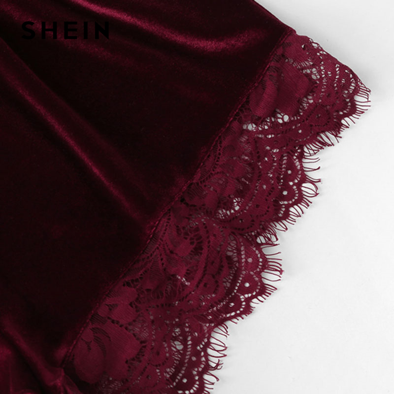 SHEIN-2018-Lace-Trim-Velvet-Cami-Shorts-Pajamas-Set-Women-Burgundy-Plain-Spaghetti-Strap-Sleeveless-Sexy