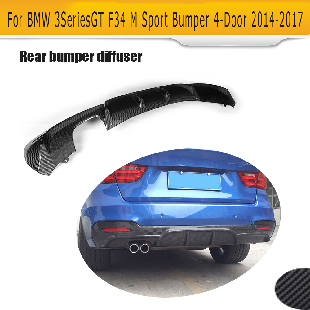 3 Series Carbon fiber Rear Lip Spoiler diffuser for BMW F34 GT M sport 4 Door Only 14-17 Single exhaust two out Grey FRP carbon fiber nism style hood lip bonnet lip attachement valance accessories parts for nissan skyline r32 gtr gts