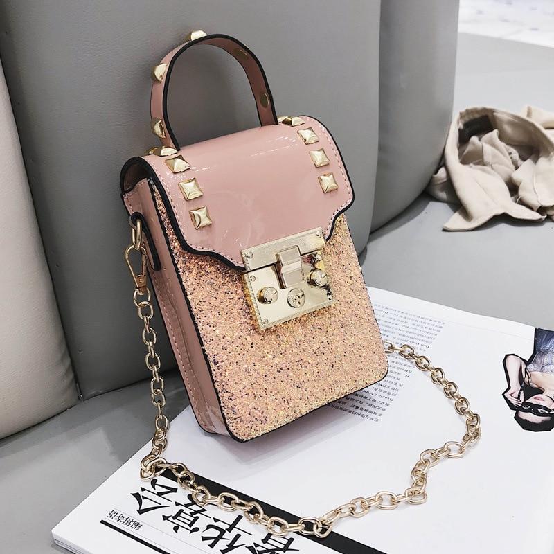 3eebdbc423be Sequins leather Women Shoulder Bag Rivet Designer Handbags Gold Luck Small  Crossbody Bags Vintage Messenger Bag Bolsa Feminina-in Top-Handle Bags from  ...