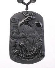 Venta al por mayor Natural negro obsidiana tallada hermosa ave fénix suerte colgantes envío collar de los granos pendientes de la joyería