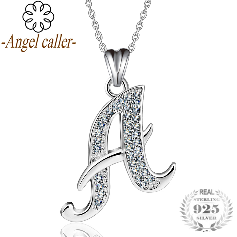 Zircon Letters Pendant Sterling Silver 925 Charming Alphabet Initial Choker Necklace Jewelry For Women CYD077