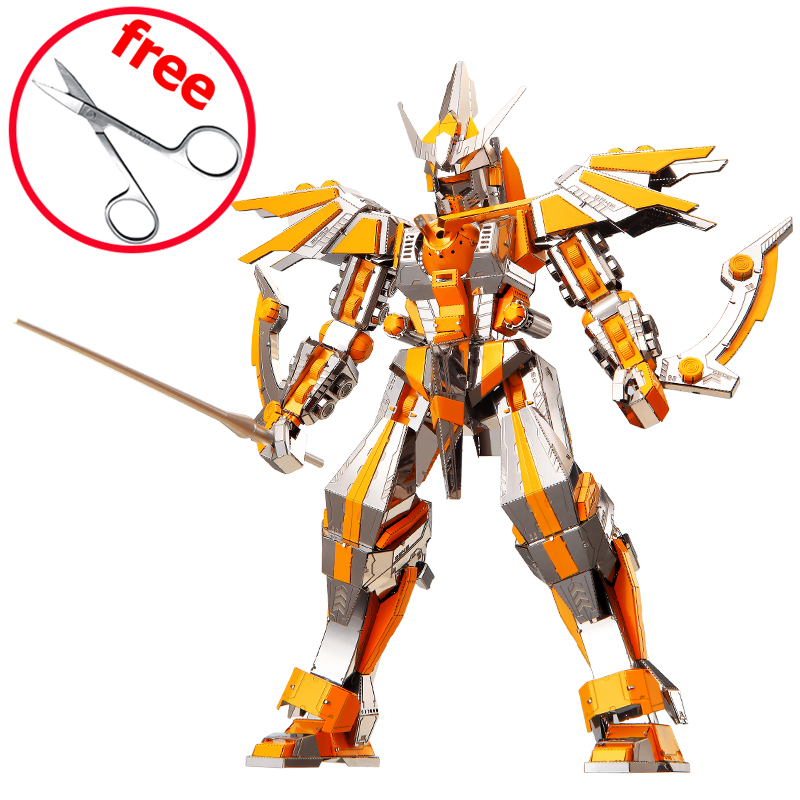 Piececool DIY 3D Metal Puzzle Toy Crescent Blade Armor Robot Puzzles Soldier Figure Model Building Kits Kids Toys