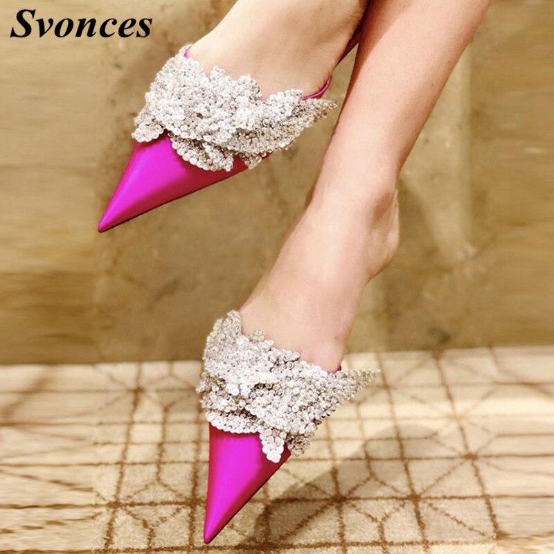 รันเวย์ร้อนสีชมพูผ้าไหมซาตินรองเท้าแตะผู้หญิงออกแบบหรูหราB Ling C Rysatalชี้เท้าแบนรองเท้าชายหาดR Hinestoneปมล่อสุภาพสตรี-ใน รองเท้าส้นเตี้ยสตรี จาก รองเท้า บน   1