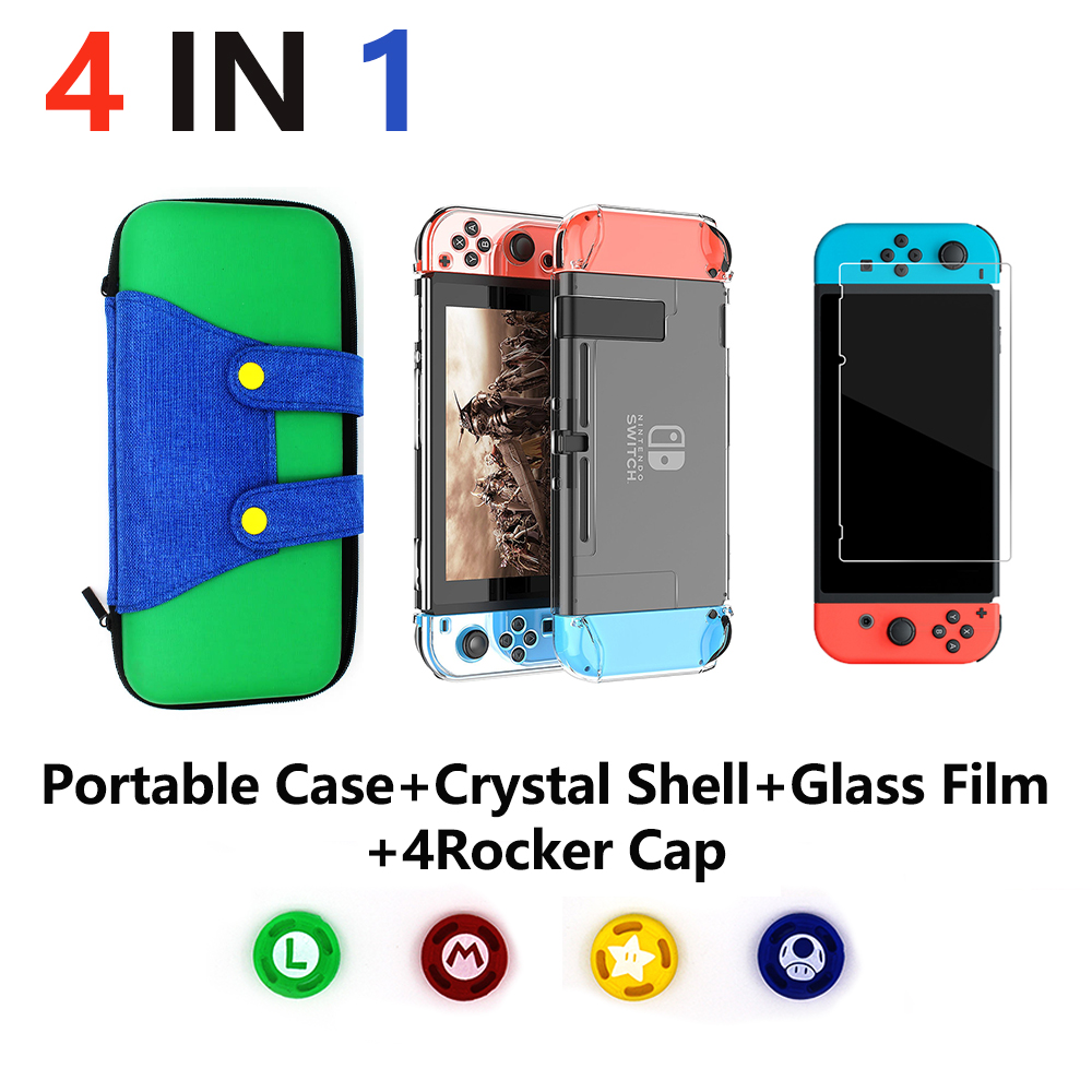 Купить с кэшбэком 4 in 1 for Nintend Switch NS Console Carrying Storage Bag Protector+Anti-scratch Dustproof Transparent Crystal Shell+ NS Skin