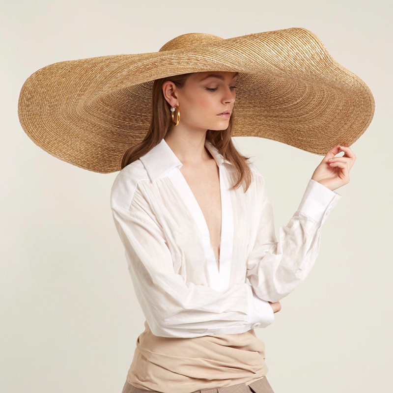 Summer Beach Hat Ladies Wide Brim Sun Hats Women Straw Sun Hat Stage Walk Show Concave