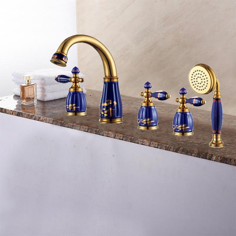 New brass Golden and porcelain 5 pcs Deck-Mounted bathroom bathtub faucet set with shower head Tub Filler Faucet Mixer Tap