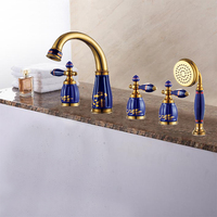New brass Golden and porcelain 5 pcs Deck Mounted bathroom bathtub faucet set with shower head Tub Filler Faucet Mixer Tap