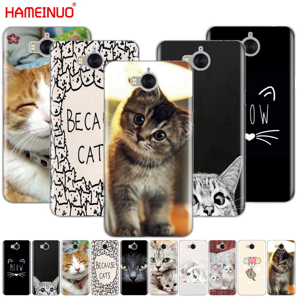 HAMEINUO meow lovely cute cat kittycell phone Cover Case for huawei honor 3C 4A 4X 4C 5X 6 7 8 Y3 Y5 Y6 2 II Y560 Y7 2017