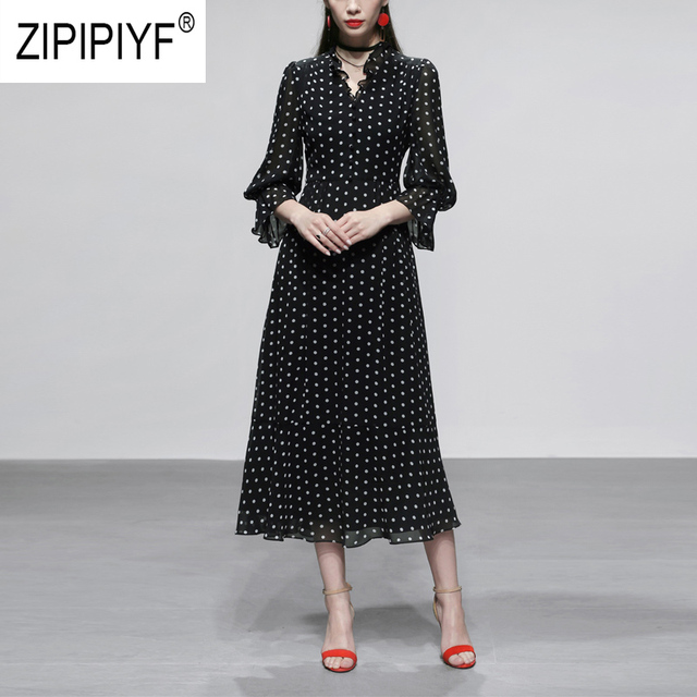 Sexy Fashion Women Bohemian Dresses V Neck Ruffle Chiffon Ball Gown Long Puff Sleeve Dot Printing Long Dress Casual Dress Z1136