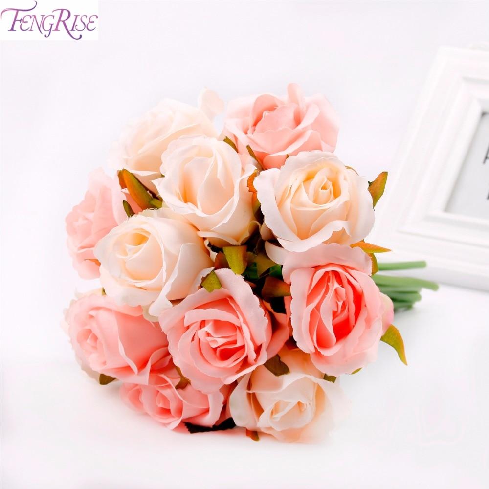 FENGRISE 12PCS / lot Silk Konstgjord Rose Flower Bride Att Bröllop - Semester och fester