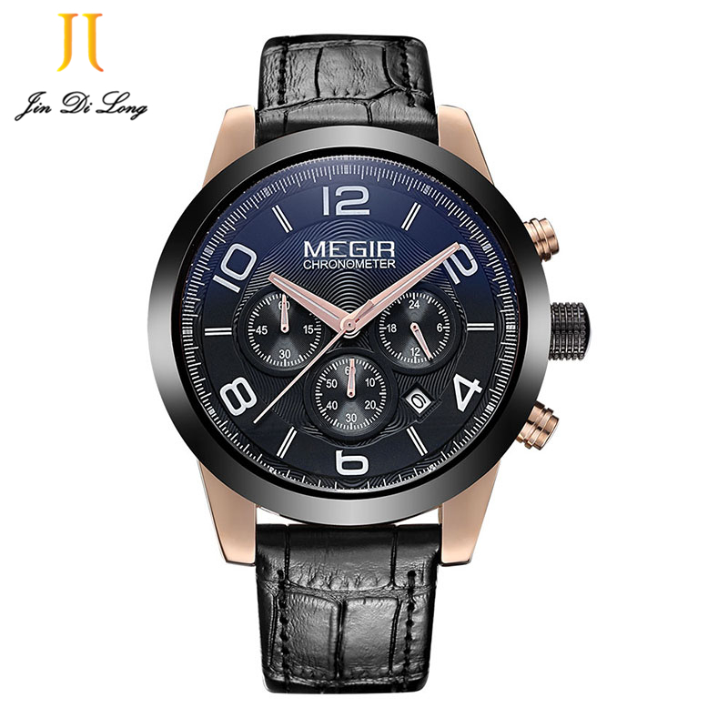 Orologio Uomo Megir Chronograph Uhr Japan Movt Quartz Watch genuine leather band big dial Quartz-Watches Men Sport Hodinky oulm 3548 authentic mens 5 5cm large dial watches leather band dual time japan movt quartz watch relogio masculino grande marca
