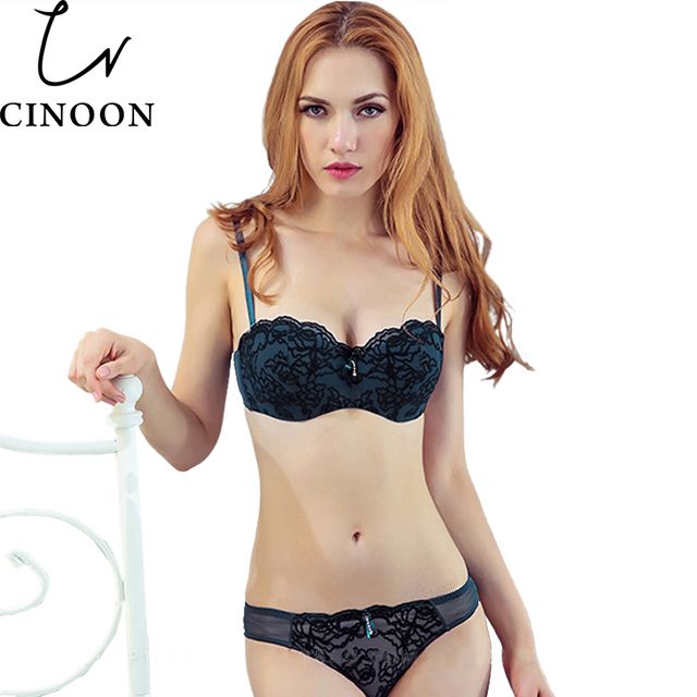 CINOON Women sexy Lace lingerie Push Up Half Cup bra and panty set Lounge Bra and Panties Embroidery Bra Set underwear intimates