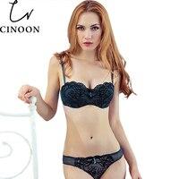 CINOON Women Lace Bra Sexy Lace Trim Cutout Push Up Half Cup Bra Lounge Bra And