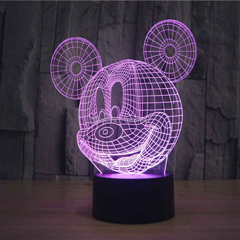 7 Color Changing Flashing Mickey Mouse Acrylic 3D LED Night Light USB 3D Christmas LED Decorative Table Lamp Baby Mood Lamp