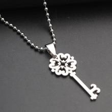 stainless steel retro flower key necklace love heart lock unique symbol snowflake unlocking tool hollow