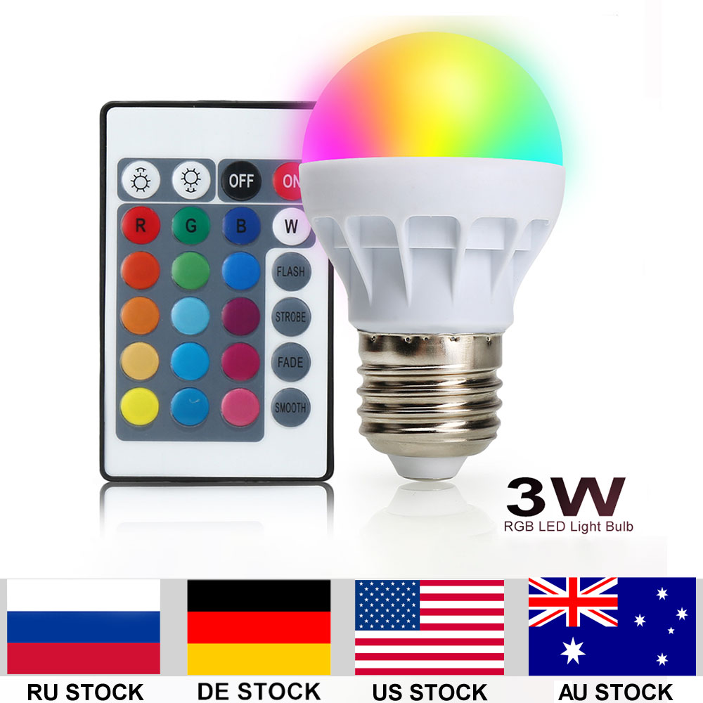 4pcs/lot RGB LED Light Bulb With Remote Control 3W 150LM E27 5050SMD 16 Colors Changing Perfect for Home Decoration