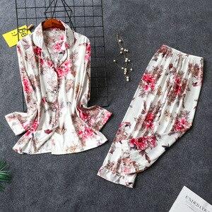 Image 3 - Daeyard Bộ Đồ Ngủ Nữ Cao Cấp Họa Tiết Áo Sơ Mi Và Quần 2 Chiếc Pyjama Set Lụa Pijama Ngủ Mùa Xuân Váy Ngủ Nhà Quần Áo