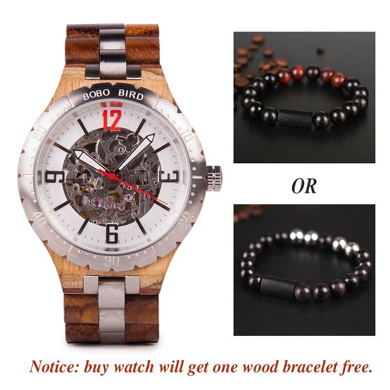 Bobo pássaro mecânico relógios de pulso masculino relógio de metal de madeira à prova dwaterproof água relógio de luxo relogio masculino C uQ29 - 6
