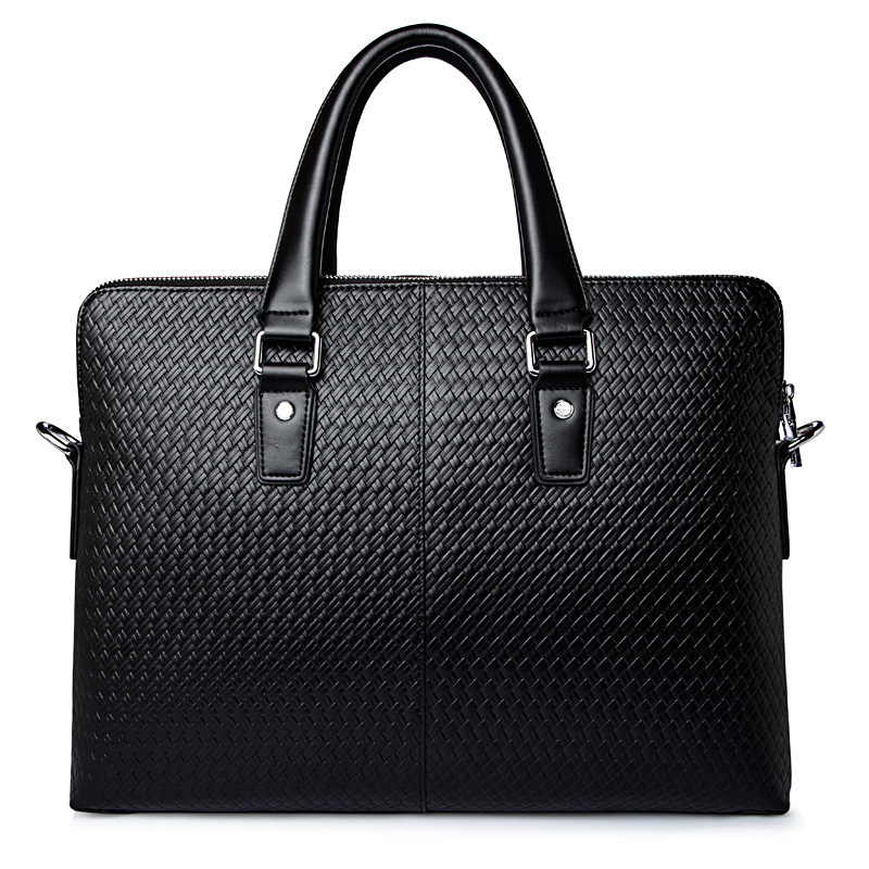New Luxury Cow Genuine Leather Business Men's Briefcase Male Weave Shoulder Bags Real Leather Messenger Tote Computer Handbag men s genuine cowhide real leather messenger briefcase shoulder tote laptop computer business handbag bags top quality brand new