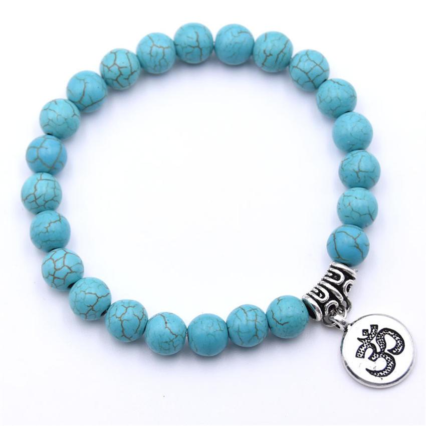 Natural Stone Strand Bracelet Yoga Chakra Mala Bracelet OM Lotus Women Men Beaded Charm Bracelet Jewelry Pulseras dropshipping - Окраска металла: ZT110-2