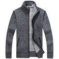 Men's Sweaters Winter Warm Thick Velvet Sweatercoat Zipper Collar Casual Cardigan Men Sweaters Pattern Knitwear  MY045