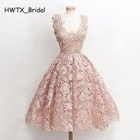 Vintage 1950S Lace Bridesmaid Dresses 2018 Light Pink Sleeveless Keen Length Prom Dress For Wedding Party Vestido De Festa Cheap