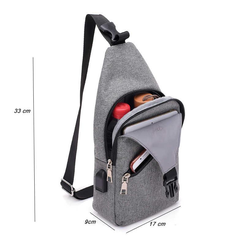 9cc0e3c66a1b ... Fashion casual men chest pack single shoulder bags USB charging chest  bag crossbody bags male anti ...