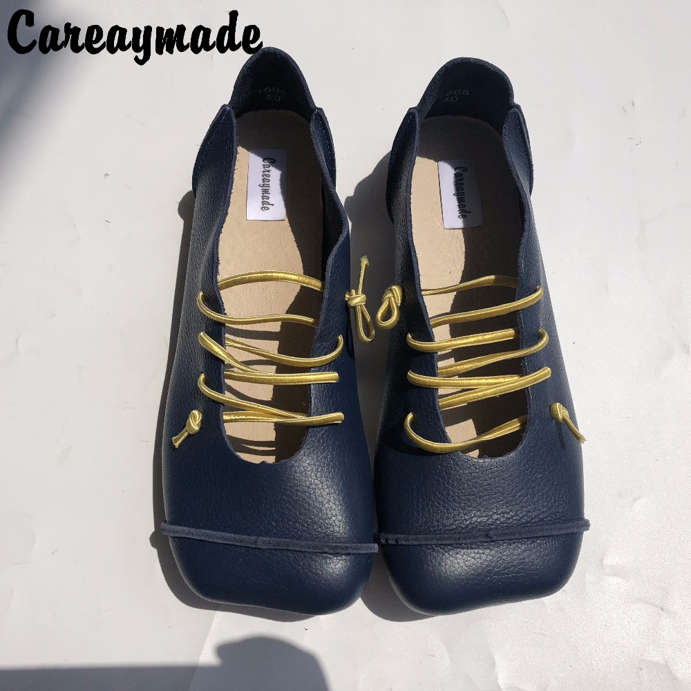 Careymade New Spring summer first layer of leather flat shoes pure handmade personality Sen female literary