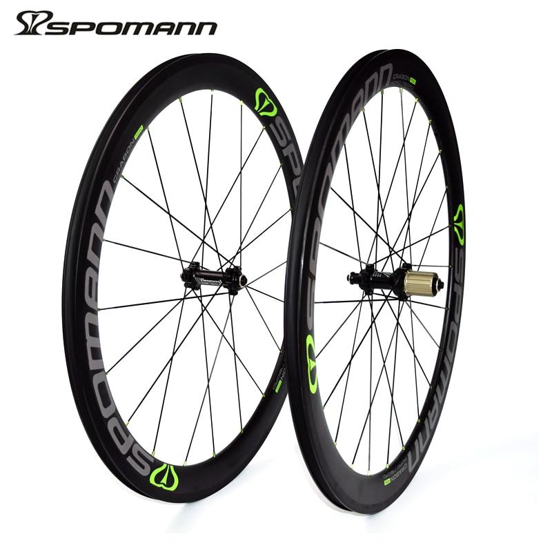 SPOMANN 700C Carbon Wheelset 50mm 3K Matte Road font b Bicycle b font Wheels Hubs 11