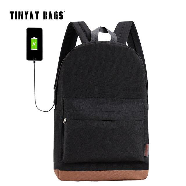 Tinyat Men S 15 Inch Laptop Backpack Usb Charging Backpacks School