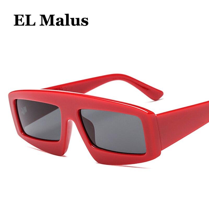 [EL Malus]Thick Square Frame Sunglasses Women Men Sun Glasses Eyewear UV400 Protection Sexy Ladies Gray Tan Lens Oculos De Sol