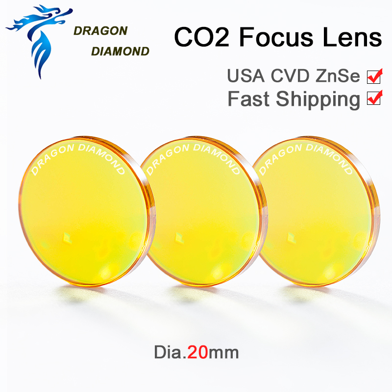 USA CVD ZnSe Focus Lens Dia. 20mm FL 38.1mm 1.5 for CO2 Laser for Engraving Cutting cutter Machine Free Shipping