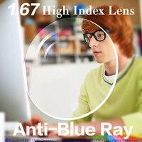 Anti-Blue Ray Lens 1.67 High Index Aspherical Myopia/Hyperopia/Presbyopia Prescription Optical Computer Lens For Eyes Protection