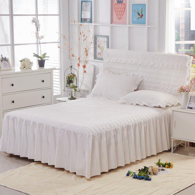 Quilted Bedding set 3Pcs <font><b>Bed</b></font> skirt Pillowcases Pink Beige King/Queen/Full <font><b>size</b></font> Bedsheet mattress protective cover