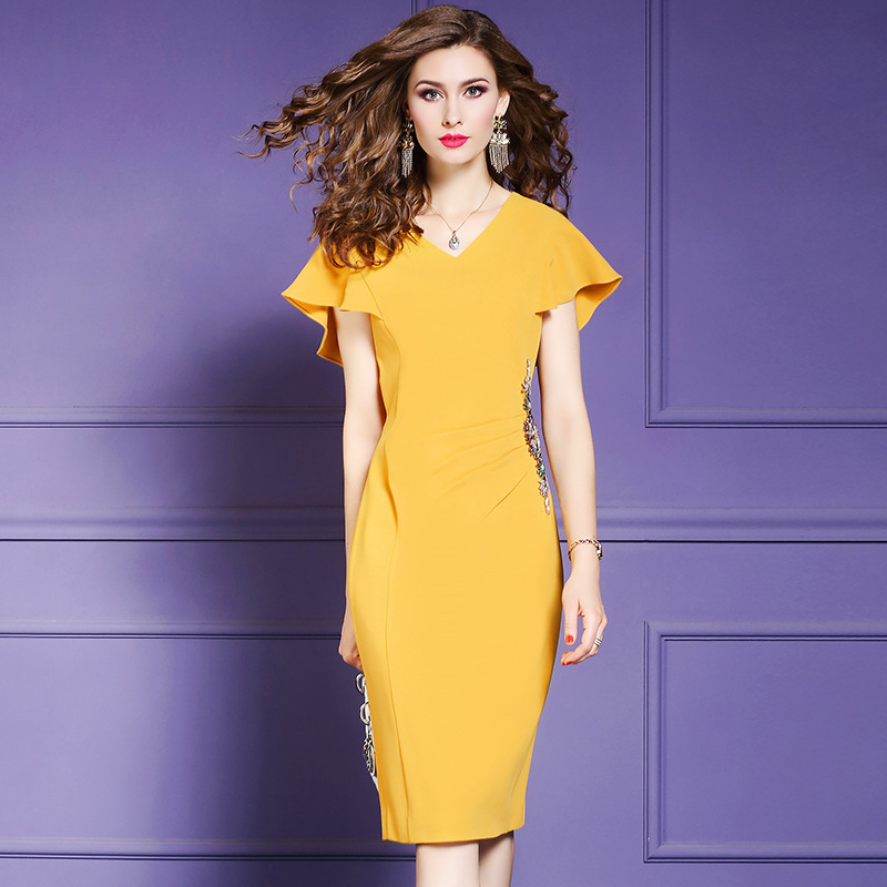 2019 new Superior quality Women office Lady Party Dress Plus Size ladies Occupation Beading Sexy dress