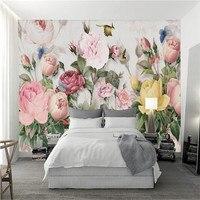 custom 3d photo wallpaper wall murals 3d wallpaper European vintage hand painted plant flower custom 3d wallpaper home decor