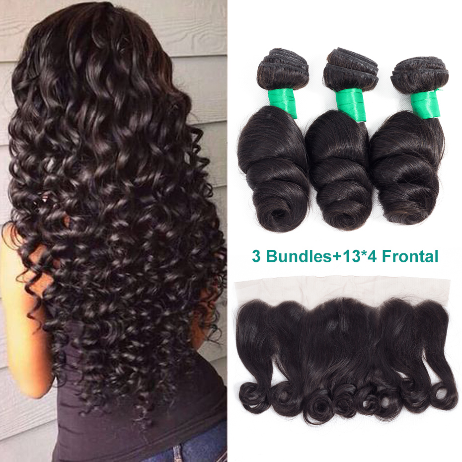 Gabrielle Brazilian Loose Wave Hair Bundles with Frontal 100% Non Remy Human Hair 3 Bundles with 13x4 Lace Frontal Closure