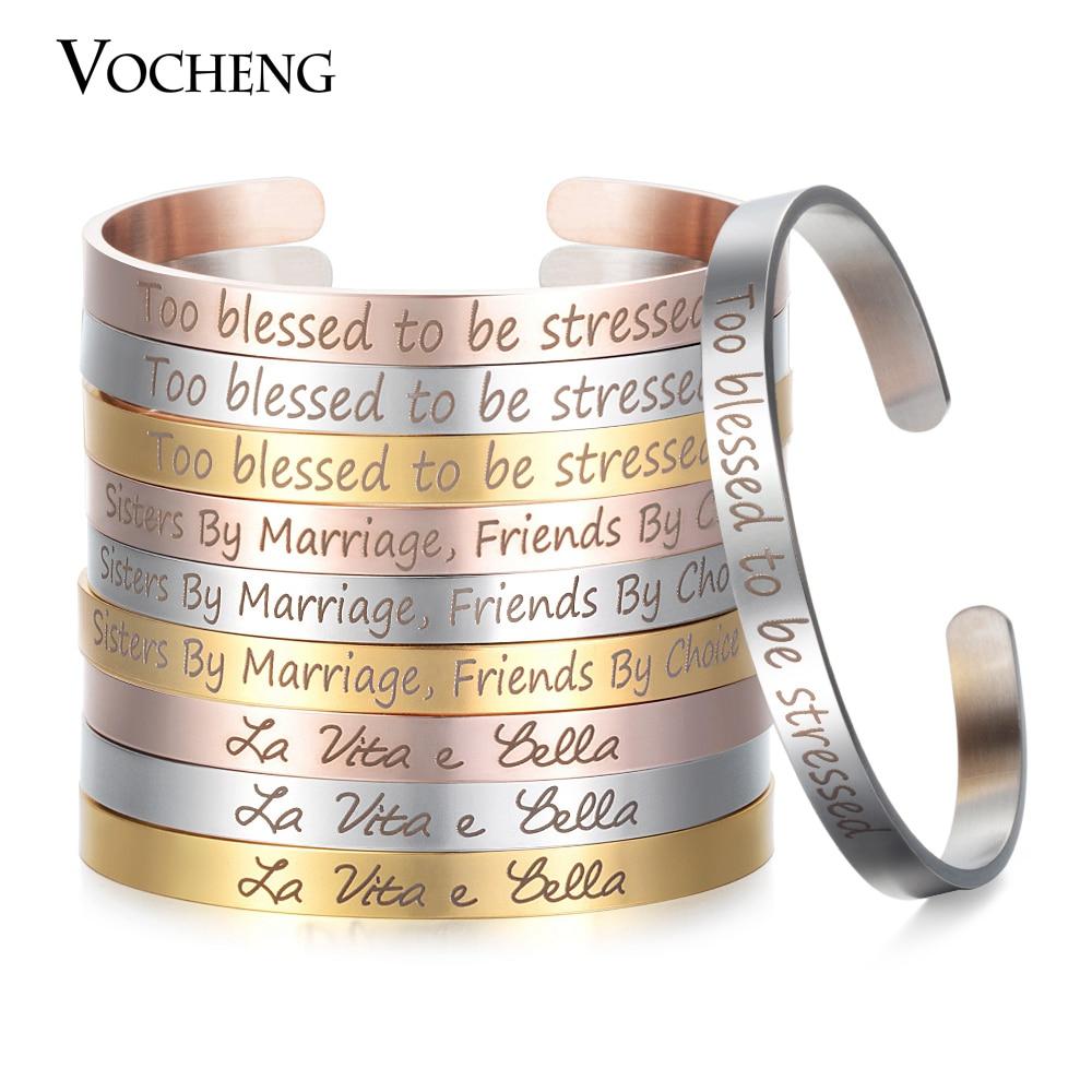 10pcslot Stainless Steel Cuff Bangle Engraved Positive Inspirational Bracelet Width 6mm Mantra Bracelet Women SL-004*10